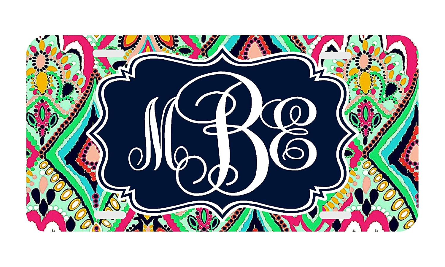 Personalized Monogrammed License Plate Car Tag Jewels Floral