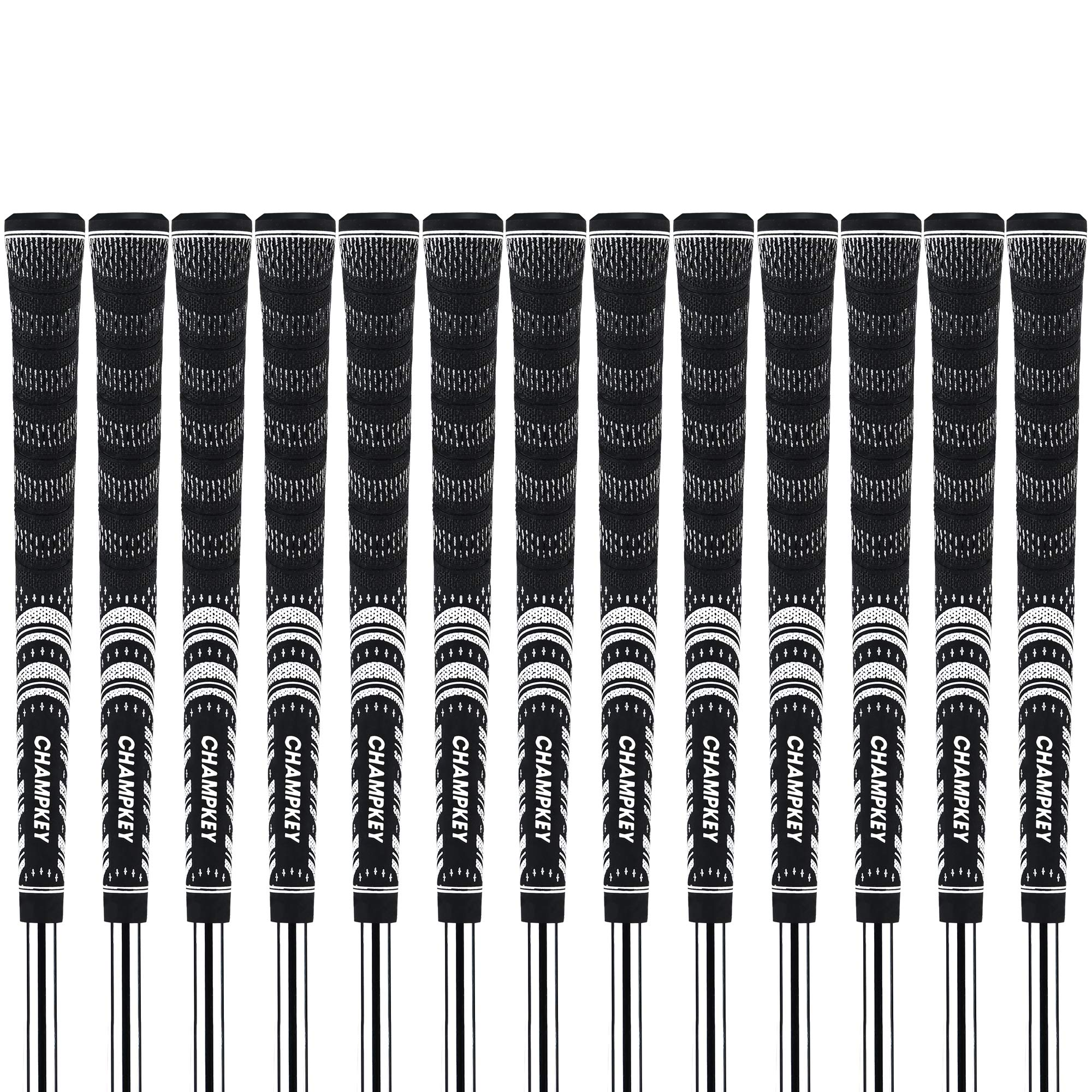 Champkey MC Half-Cord Golf Grips Set of 13 with 10.50'' Professional Tape(13pieces) (Black&Black, Midsize)