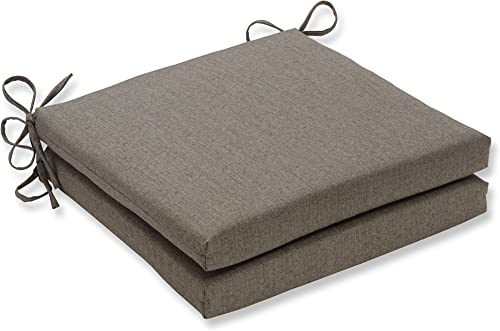 Pillow Perfect Outdoor Indoor Linen Sesame Square Corner Seat Cushions, 20 in. L X 20 in. W X 3 in. D, Tan, 2 Pack