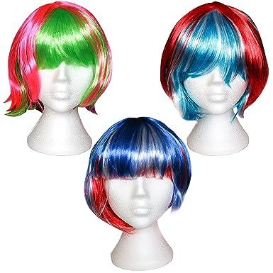 Set 3 Coloridas Pelucas Cortas / Largas para Mujeres por Kurtzy - Fibra Sintética Lisa -