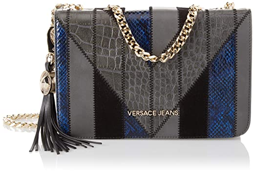 fd83ebe3eb Amazon.com: Versace EE1VSBBP1 E829 Grey/Blue Shoulder Bag for Womens ...