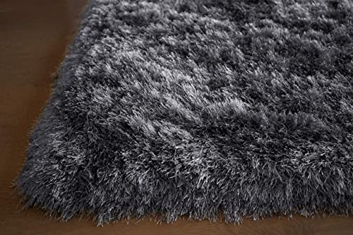 Gray Grey Color Two Tone 8×10 Area Rug Carpet Rug Solid Soft Plush Pile Shag Shaggy Fuzzy Furry Modern Contemporary Decorative Designer Bedroom Living Room Hand Woven Non-Slip Canvas Backing