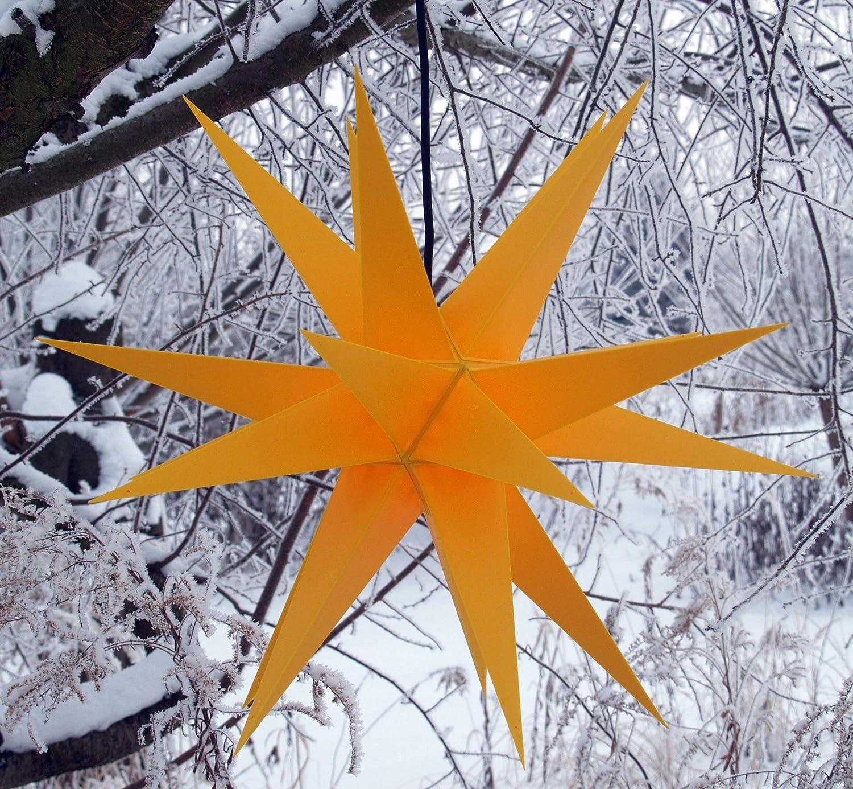 Melchior Outdoor, sehr stabiler 3D Außenstern Ø 60 cm, mit 20 Spitzen, inkl. 4 m Außenkabel - Weihnachtsstern, Adventsstern