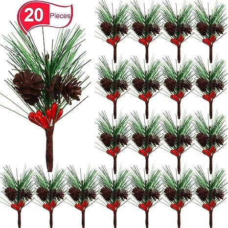 Amazon Com Willbond Artificial Pine Picks Small Fake Red Berries