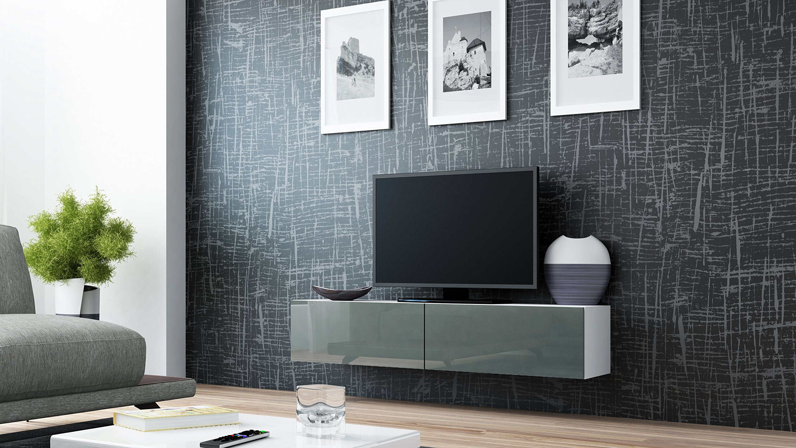 Seattle 65'' NEW TV Stand - High Gloss TV Stand / Media Shelf European Design Hanging Furniture / Hanging TV Stand / Central TV Unit (Grey - White)