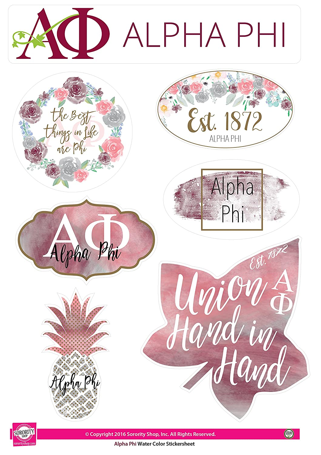 Alpha Phi - Sticker Sheet - Watercolor Theme