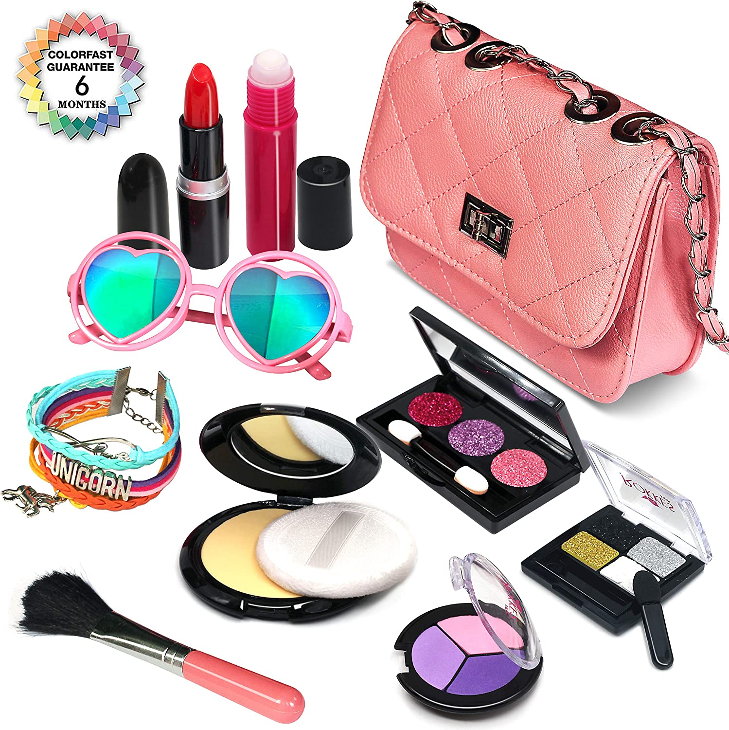 Senrokes Pretend Makeup Play Purse Toy Girls Play Fake Makeup Kit, Princess Purse Toy Makeup for Girls / Toddlers, Safe & Non Toxic Stem Toy, 3 4 5 6 7 8 9 10 Year Old Girl Christmas Birthday Gifts.