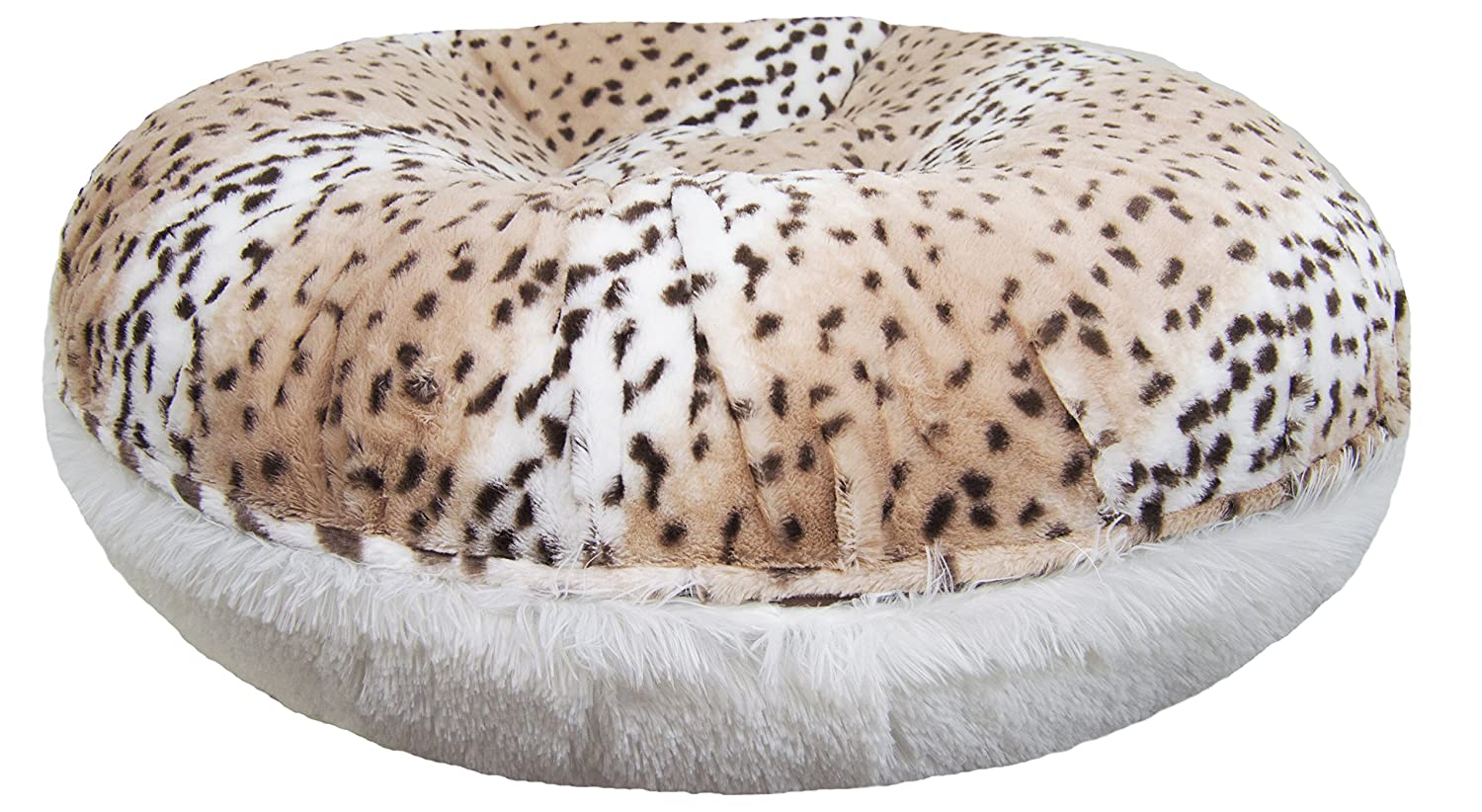 XS 24\ BESSIE AND BARNIE Signature Aspen Snow Leopard Snow White Shag Extra Plush Faux Fur Bagel Pet Dog Bed (Multiple Sizes)