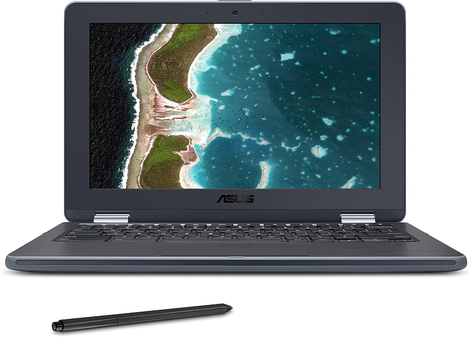 ASUS Chromebook Flip C213SA-YS02-S with Stylus EMR Pen, 11.6 inch Ruggedized & Spill Proof, Touchscreen, Intel Dual-Core N3350, 4GB DDR4 RAM, 32GB Flash Storage, USB Type-C, Supports Android Apps