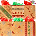 24 Pcs Christmas Kraft Gift Bags with 6 Assorted Designs for