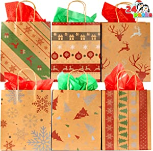 24 Pcs Christmas Kraft Gift Bags with 6 Assorted Designs for Kraft Bags,Christmas Holiday red White Print Kraft Bags