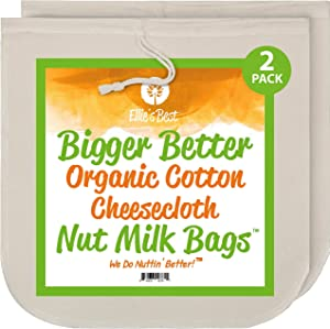 Nut Milk Bags - Organic Cotton Cheesecloth - Pro Quality Unbleached 12