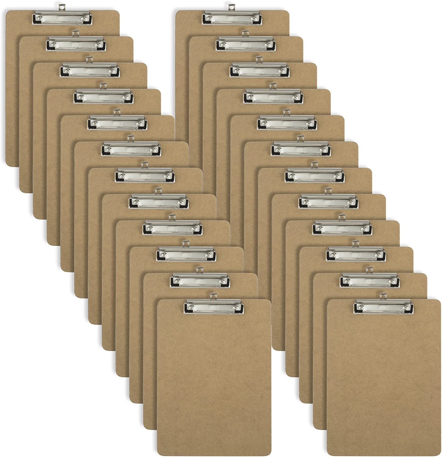 Officemate Letter Size Wood Clipboards, Low Profile Clip, 24 Pack Clipboard, Brown (83824)