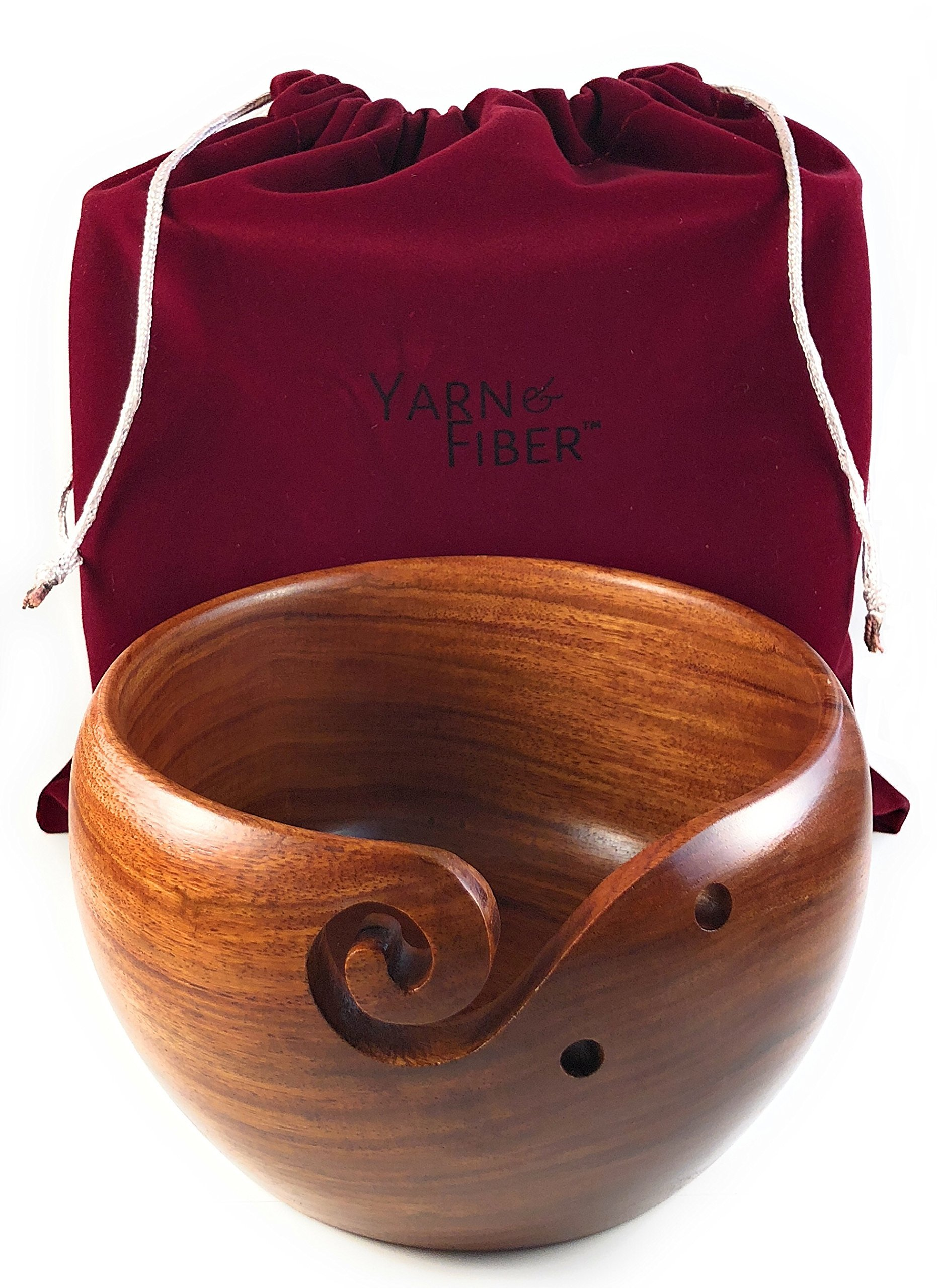 Yarn & Fiber Premium Yarn Bowl | Large 7x4 Inch with Travel Bag | Smooth Handcrafted Rosewood, Stop Yarn From Rolling, Knitting and Crochet Yarn Holder