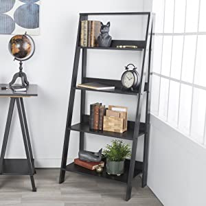 WE Furniture 4 Shelf Simple Modern Wood Ladder Bookcase Bookshelf Storage, Black