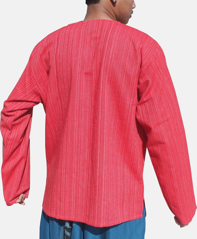 RaanPahMuang Brand Striped Cotton Shirt Open Slit Collar Long Sleeve