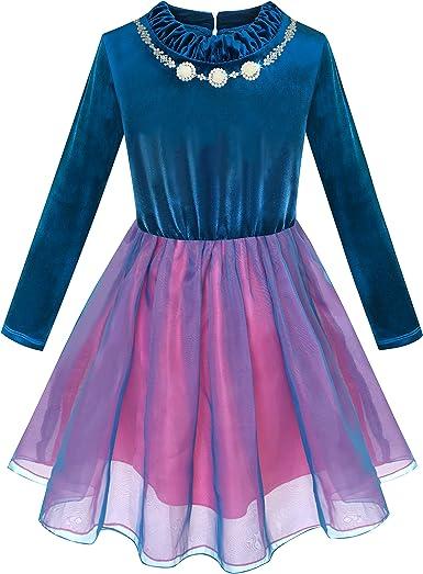Sunny Fashion Vestido para niña Terciopelo Parte Superior Volante ...