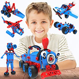 STEM Toys - 6 in 1 Kids Building Toy Set, 142 Pieces, Educational DIY Learning Construction Kit for Boys and Girls, Birthday Gift Idea for Creative Engineering STEM Builders Ages 5 6 7 8 9 + Years Old