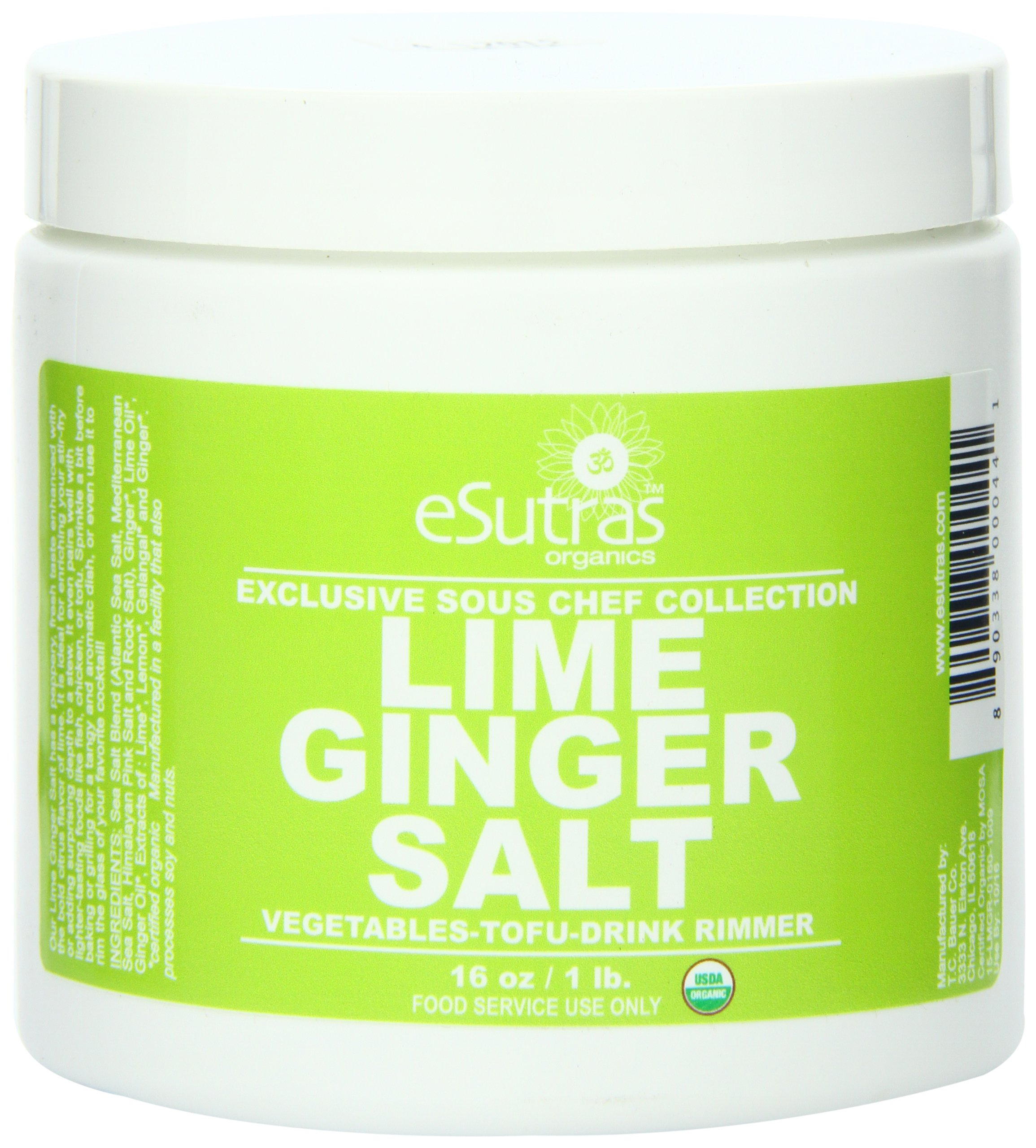 Esutras Organics Ginger Salt, Lime, 16 Ounce