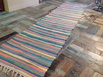 Hand Loomed Multi Coloured Rag Rug Runner 60cm X 240cm