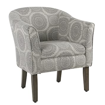 Strange Homepop Barrel Shaped Accent Chair Grey Medallion Bralicious Painted Fabric Chair Ideas Braliciousco