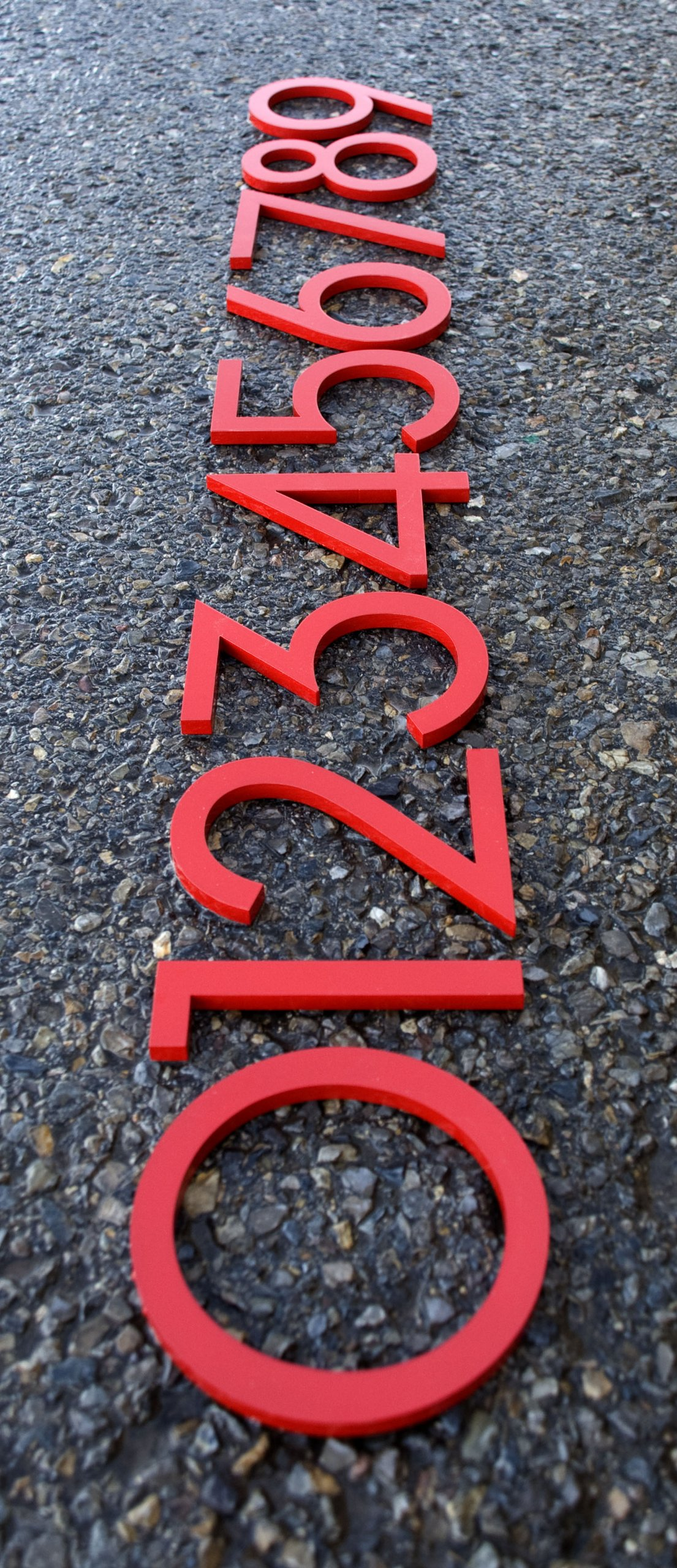 Modern House Numbers Aluminum Modern Font Set of Four 8 inch Numbers in RED by Moderndwellnumbers.com