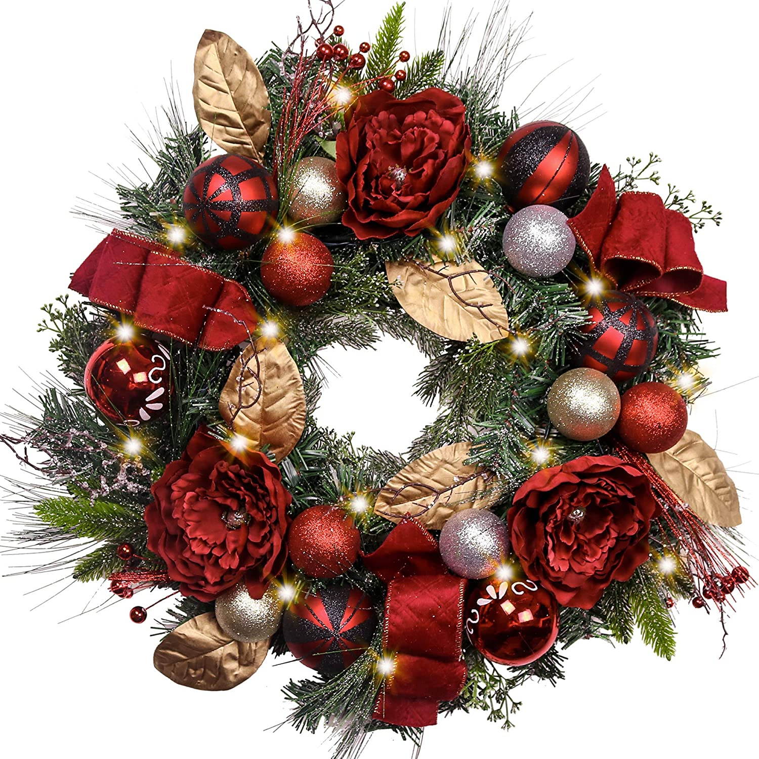 Christmas Wreath.Valery Madelyn Pre Lit 24 Trendy Red And Black Christmas Wreath With Ball Ornaments And Ribbon Battery Operated 20 Led Lights