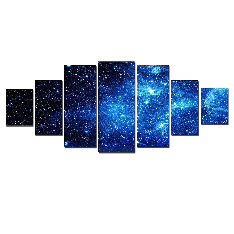 Startonight Leinwandbilder Großformatige Kunst Blauer Raum, Doppelansicht Modernes Dekor Gerahmte Kunstwerk 100% Ursprünglich Fertig zum Aufhängen XXL 7 teile 100 x 240 CM