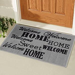 """Ottomanson Doormat Collection Rectangular Sweet Home Doormat, 20"""" X 30"""", Grey"""