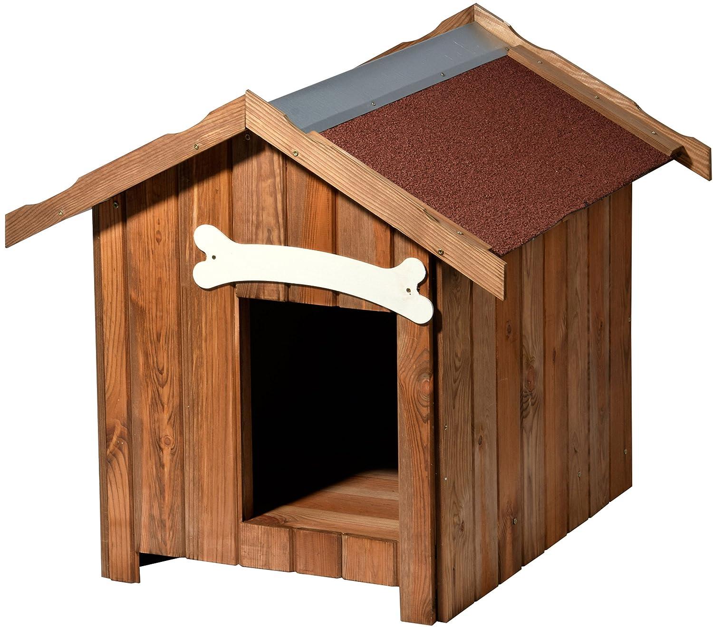 dobar Isolierte Hundehü tte mit Spitzdach, fü r drauß en Outdoor Wetterfest imprä gniert, aus Kiefer-Holz, EU-Produktion 80 x 60 x 80 cm 31 kg Holzhü tte 55021FSC
