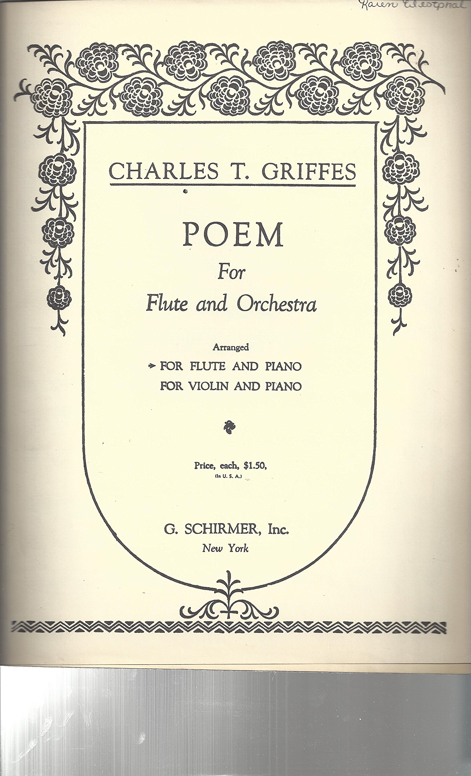 Poem for Flute & Orchestra (Arranged for Flute and Piano)