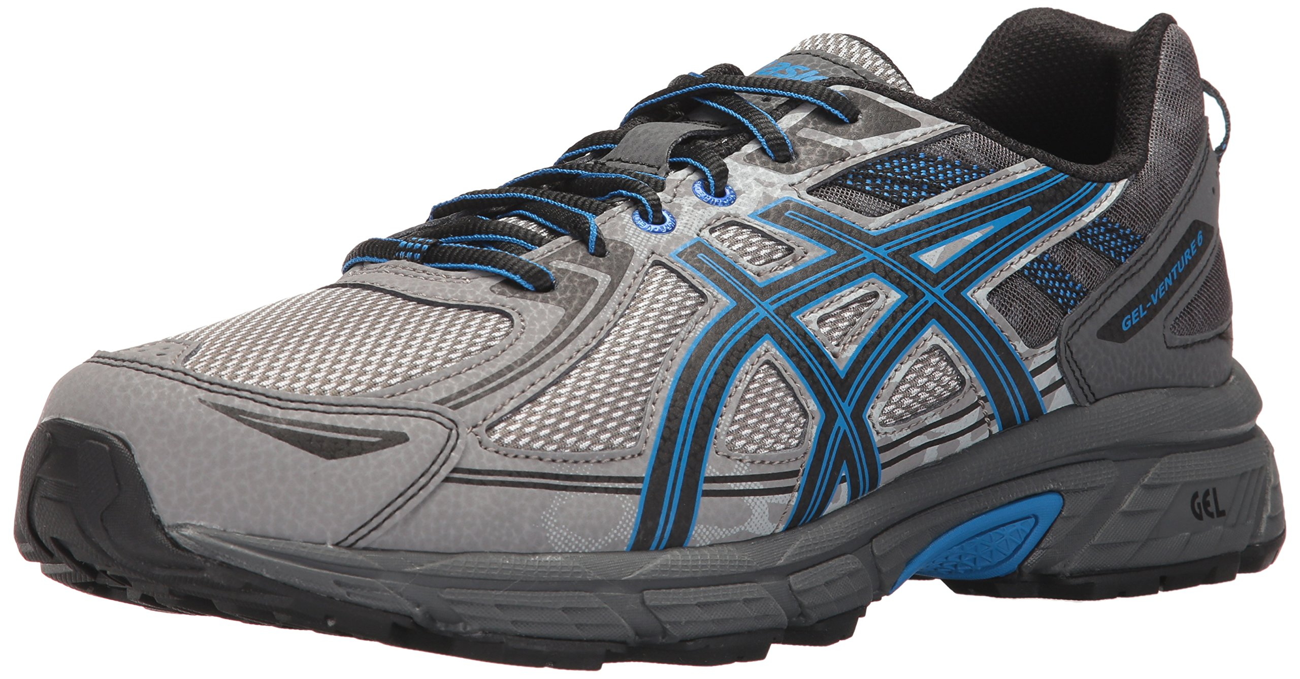 ASICS Mens Gel-Venture 6 Running Shoe, Aluminum/Black/Directoire Blue, 10.5 4E US by ASICS