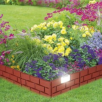 Bordure De Jardin Solaire Mur Lot De 4 Briques Avec Eclairage Led