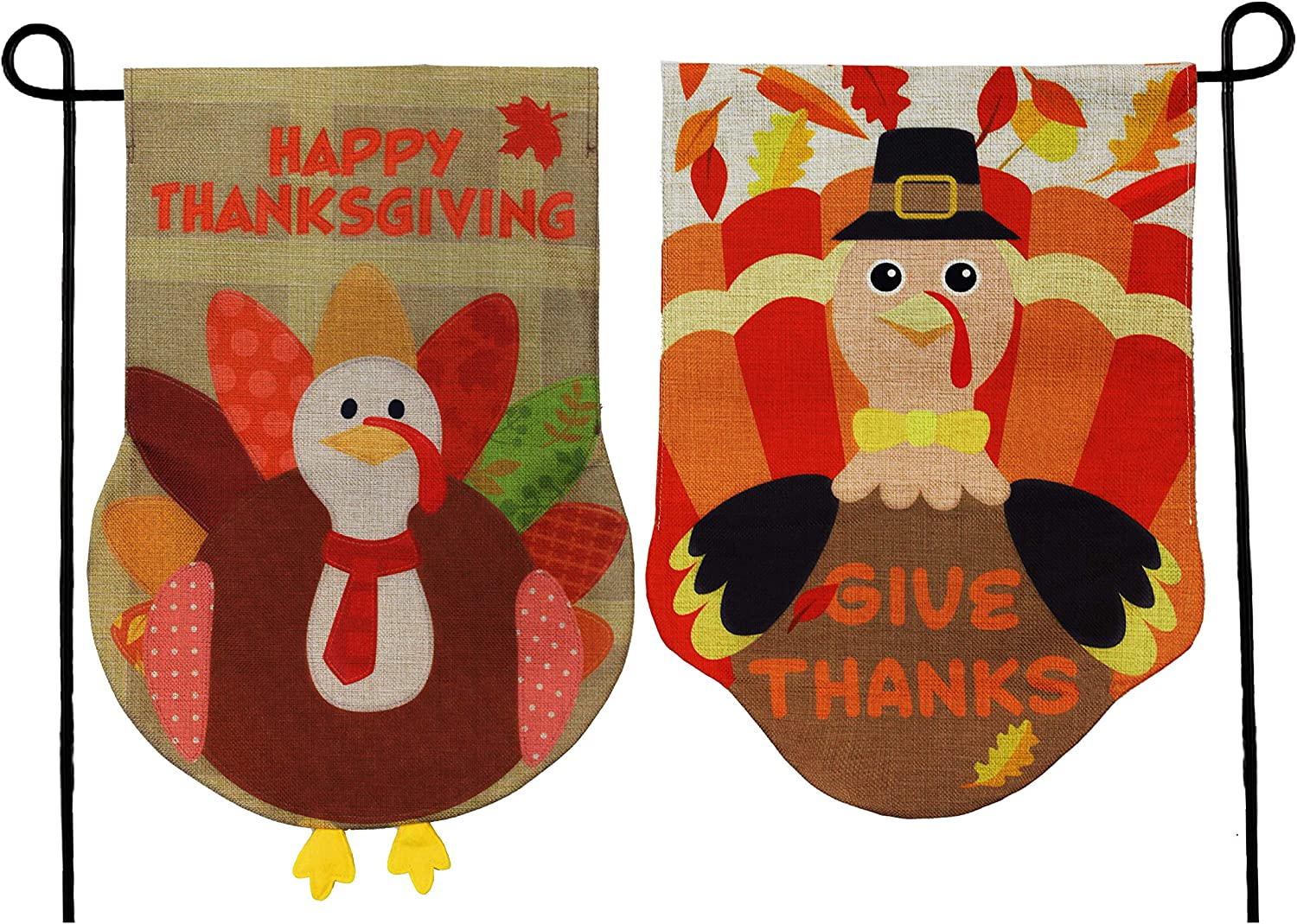 """JOYIN Two Thanksgiving Fall Turkey Burlap Garden, House Flags Decorations Double-Sided for Happy Give Thanks Party Favor, Autumn Supply, Outdoor Design 12.5"""" x 18""""."""