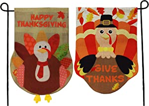 "JOYIN Two Thanksgiving Fall Turkey Burlap Garden, House Flags Decorations Double-Sided for Happy Give Thanks Party Favor, Autumn Supply, Outdoor Design 12.5"" x 18""."