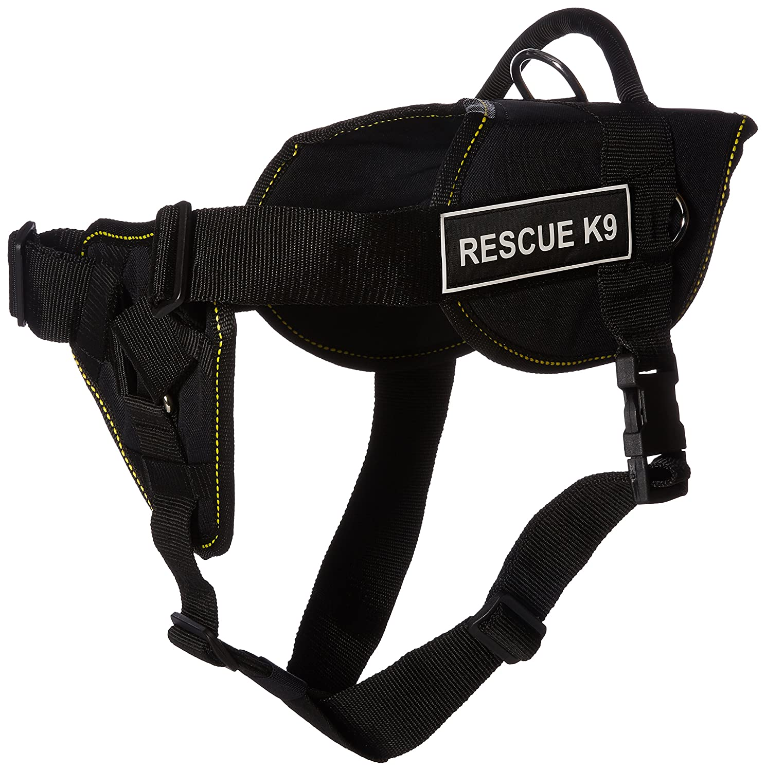 Dean & Tyler DT Fun Rescue K9  Dog Harness with Padded Chest Piece, Fits Girth Size 32-Inch to 42-Inch, Large, Black with Yellow Trim
