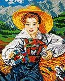 """Kamaca Kit de tapisserie Motif """"jolie jeune fille de Toscane"""" 40 x 50 cm"""