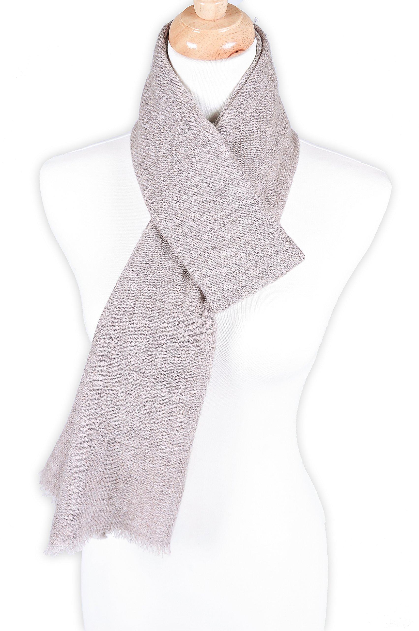 Zentopia classic 100% Grade A cashmere handmade scarf narrow cut light weight (Khaki) by Zentopia (Image #1)