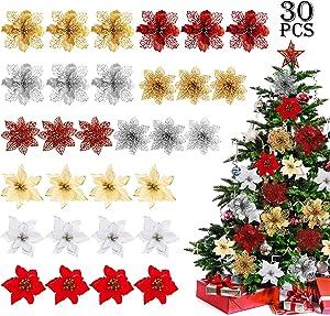 WILLBOND 30 Pieces Christmas Glitter Poinsettia Flowers Decorative Poinsettia Flowers Ornaments for Christmas Tree Wreaths, 9 Styles