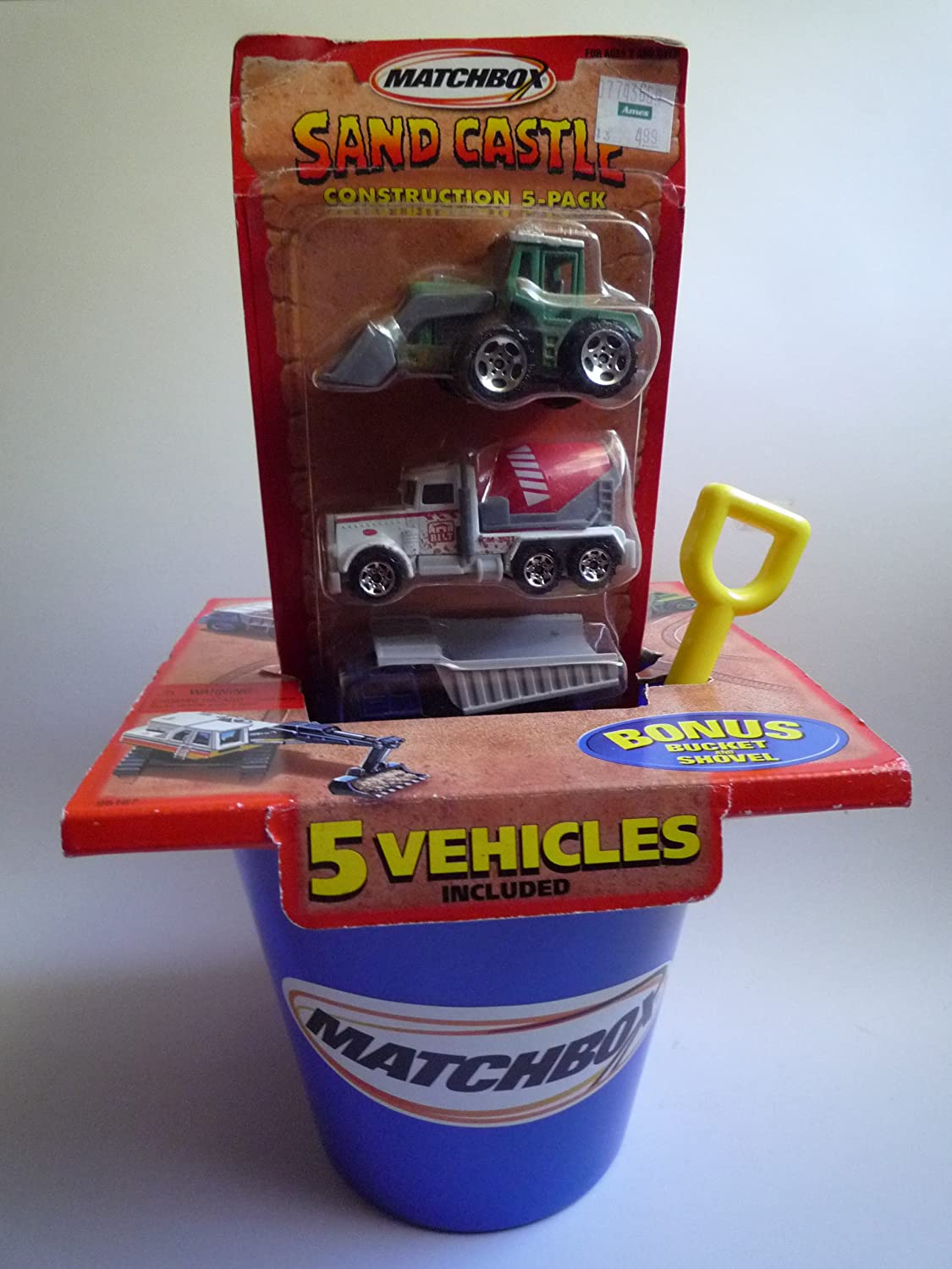 2000 Matchbox Sand Castle Construction 5 Pack Tractor Shovel / Cement Mixer / Earth Mover / Excavator / Ford Dump/Utility Truck
