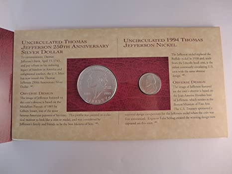 1993 Thomas Jefferson Coin and Currency Set Includes 1994 Matte Nickel