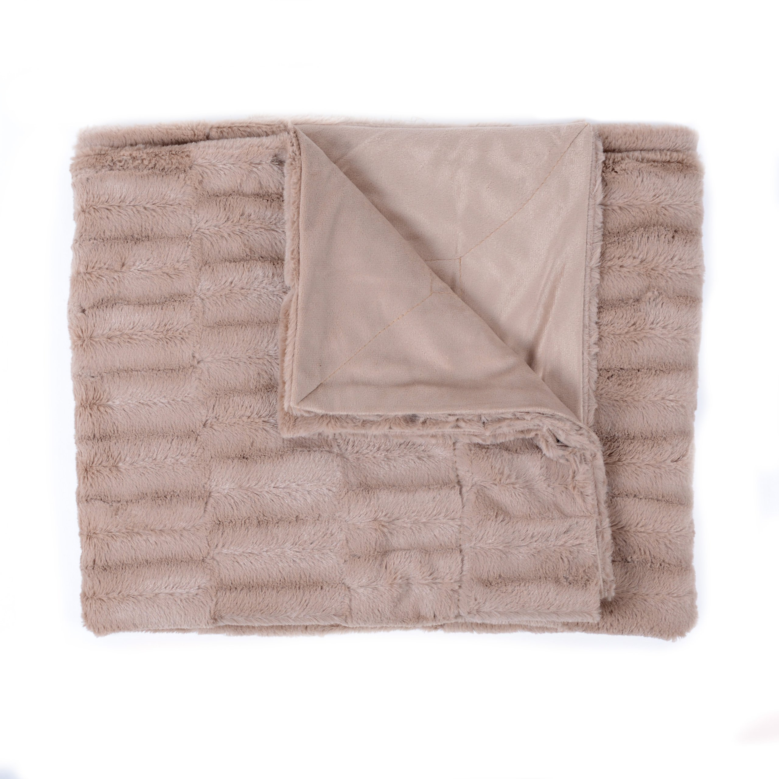 Sweet Home Collection Casie Decorative Reversible Faux Fur and Mink Throw Blanket, 50 x 60'', Animal Pattern, Taupe