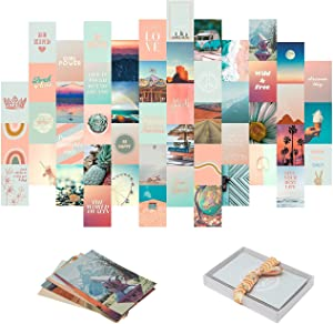 Aesthetic Wall Collage Kit by Open Creations | Teen Girl Room Decor | Set of 50 Boho 4x6 Posters | Made in USA | Collage Kit for Bedroom Decor | Motivational Gift