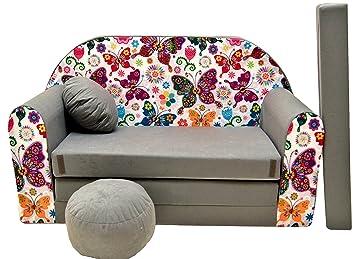 Pro cosmo a33 divano letto con pouf poggiapiedi cuscino in tessuto