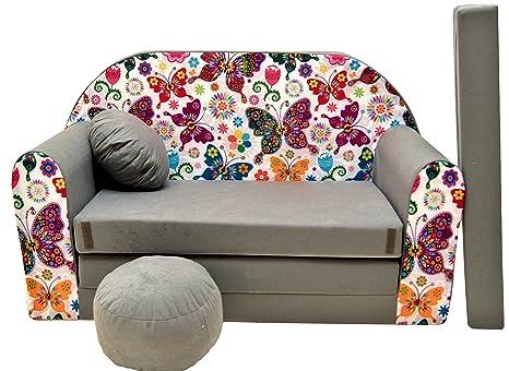 PRO COSMO A33 Divano Letto con Pouf/poggiapiedi/Cuscino, in Tessuto,  Multicolore, 168 x 98 x 60 cm, per Bambini