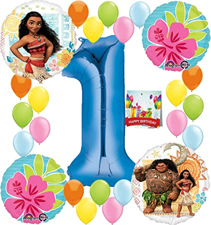 Moana Party Supplies Birthday Decorations Number Balloon Bundle For 1st