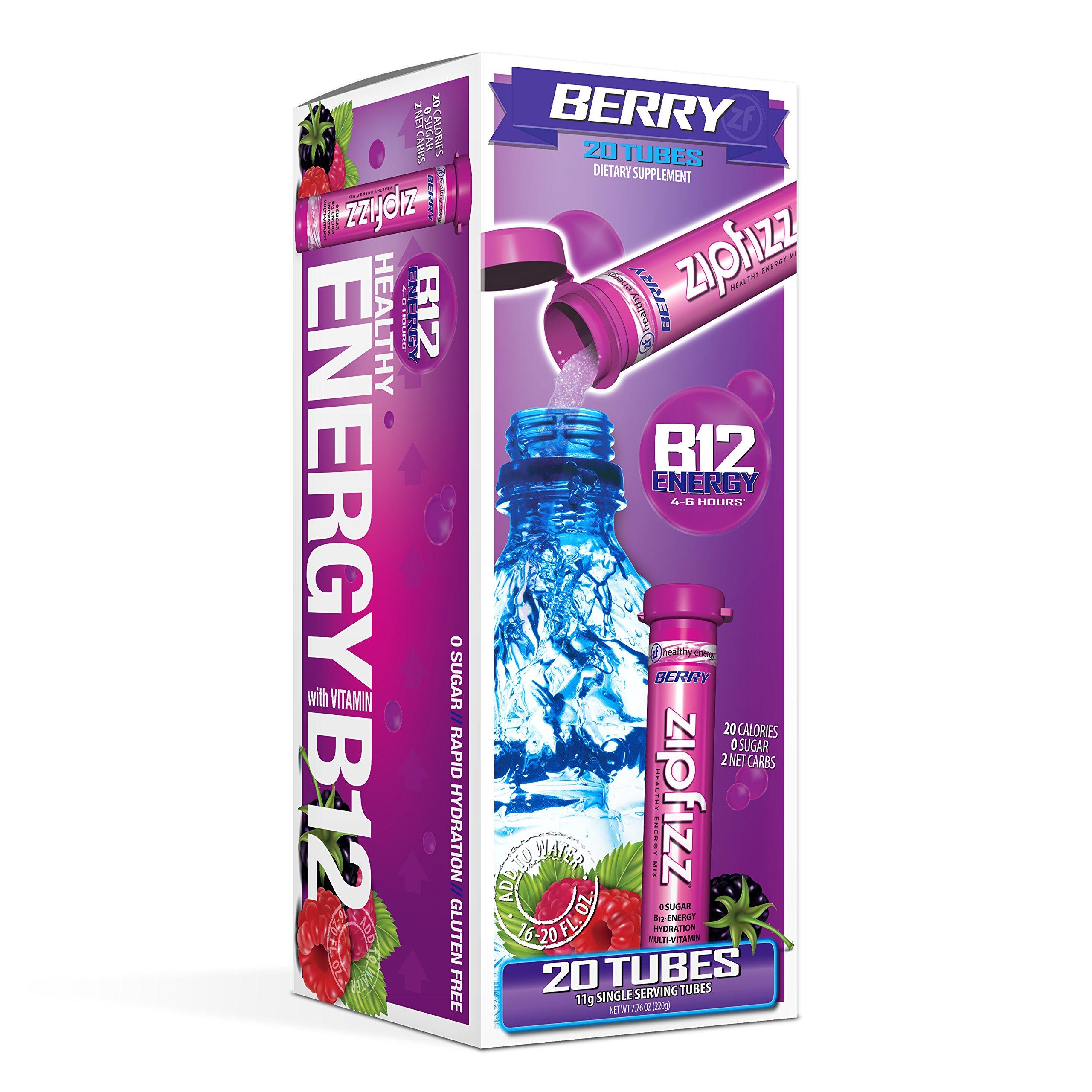 Zipfizz Healthy Energy Drink Mix, Berry, 20 Count
