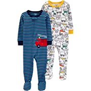 Carter's Baby Boys 2-Pack Cotton Footed Pajamas, Firetruck/Construction, 12 Months