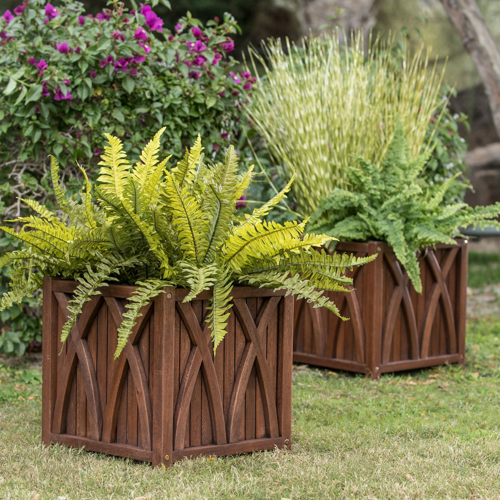Set of 2 Brown Finish Eucalyptus Wood Patio Pots Planters Outdoor Gardening Planting 15x15