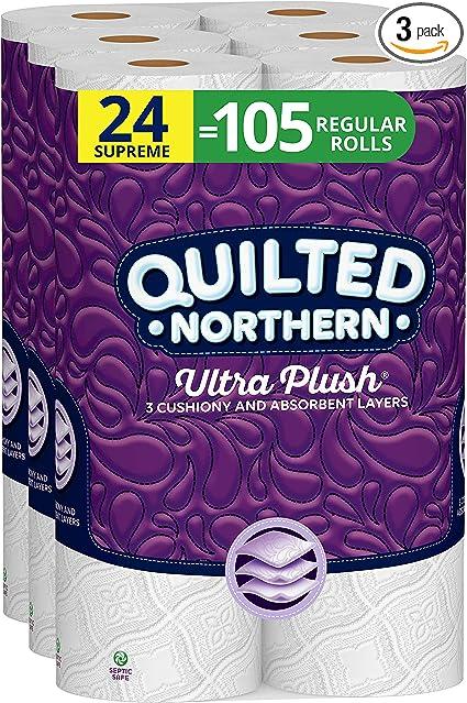 Quilted Northern Ultra Plush Papel Higiénico Séptico Seguro 24 Rollos Supremos De Papel Higiénico De 3 Capas 92 Regulares H Pc 74326 1 1 Health Personal Care